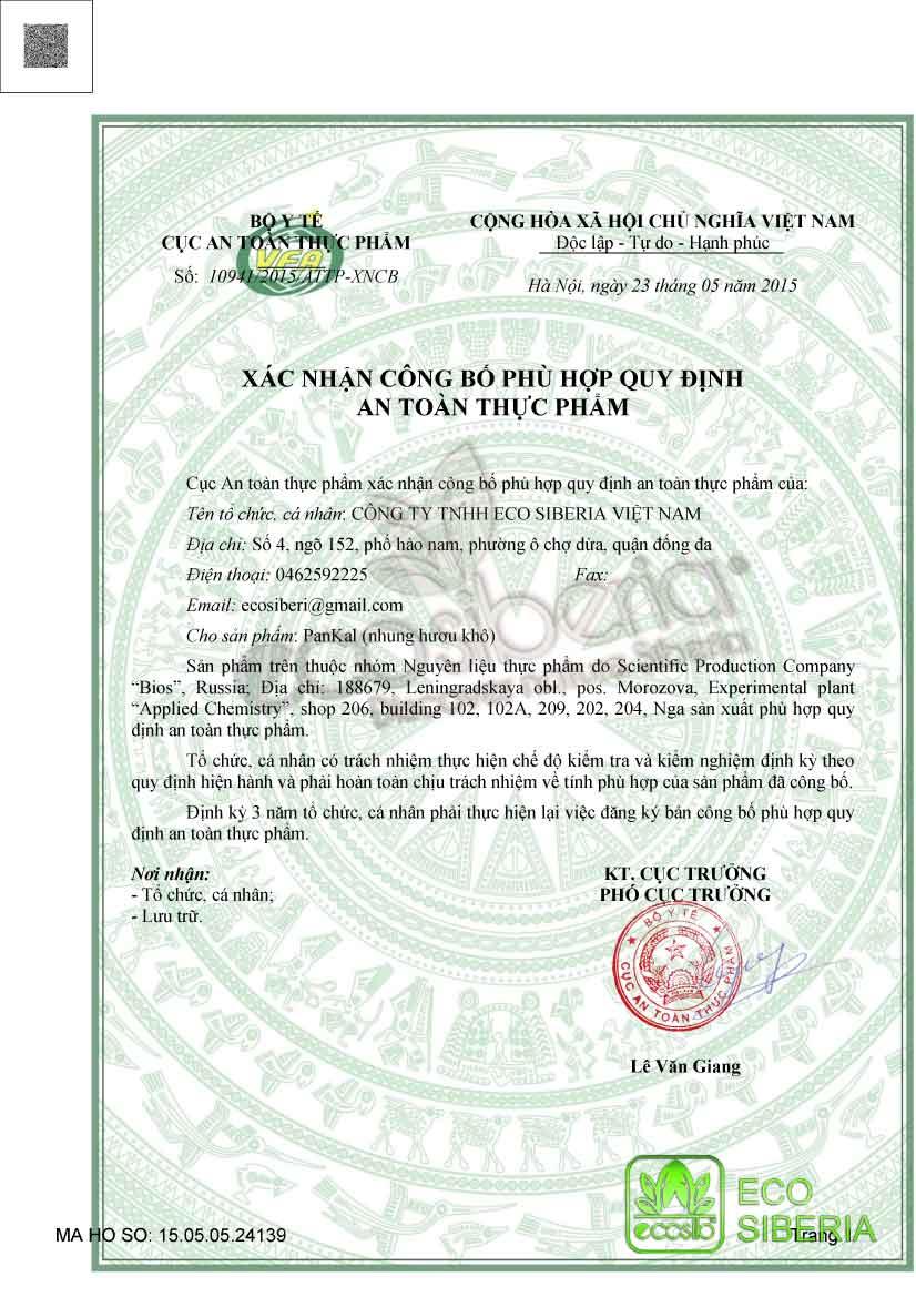Công bố nguyên liệu Pankal - Nhung hươu khô nhập khẩu.